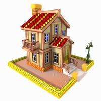 3d fbx house toon