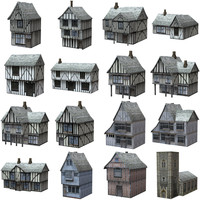 poser set medieval buildings fantasy