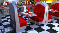 stylized restaurant booth 3d model