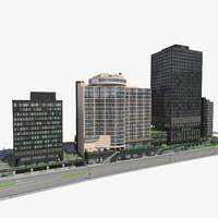 3d block office buildings 5 model