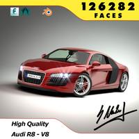 audi r8 car - 3d model