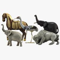 3d model animal statues