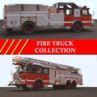 trucks pumper ladder 3d model