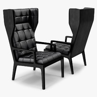 3d model wingback chair james