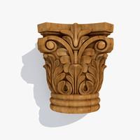 wooden capital 3d max