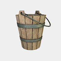 wooden old bucket obj free