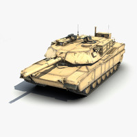 3d low-poly battle tank m1a1 abrams