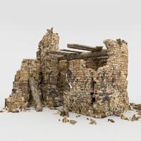 3d ruins tower model
