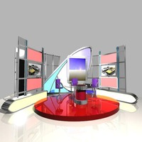 news studio 005 tv 3d max