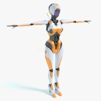 futuristic female robot 3d max