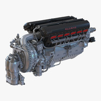 piston aero engine rolls royce 3d 3ds