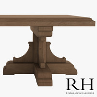 french dining table oak 3d model
