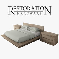 reclaimed oak platform bed 3d model