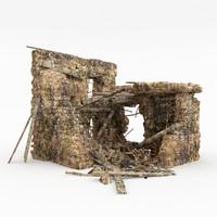 3d ruins building model