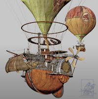 steampunk steam airship 3d 3ds