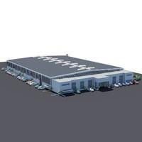 3d model industrial logistics warehouse