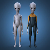 3d grey alien rigged