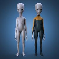 3d grey alien rigged