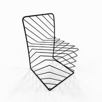 3ds max metal designer wire chair
