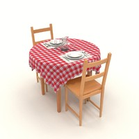 laid dining table set 3d model