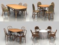 rattan chair table 3d model