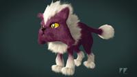 Cartoon Purple Cat - Rigged
