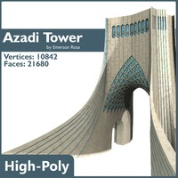 3d model azadi tower