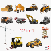 3d construction vehicles