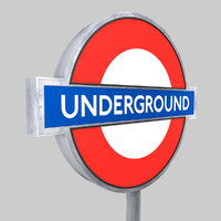 london underground sign 3d c4d