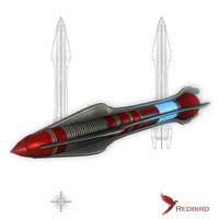 sci-fi rocket missile 3d model