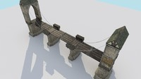 3d drawbridge medieval city bridge model