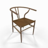 3d model wooden wicker seat chair