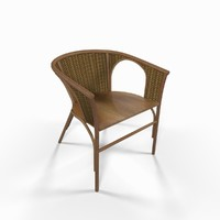 3d model wooden wicker chair
