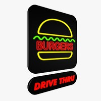 neon burger sign 3d 3ds