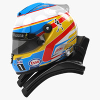 3d racing helmet fernando alonso model