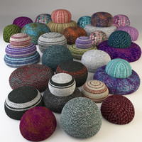 knitted fabric pouf collection