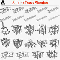 3d model of square truss standard 004