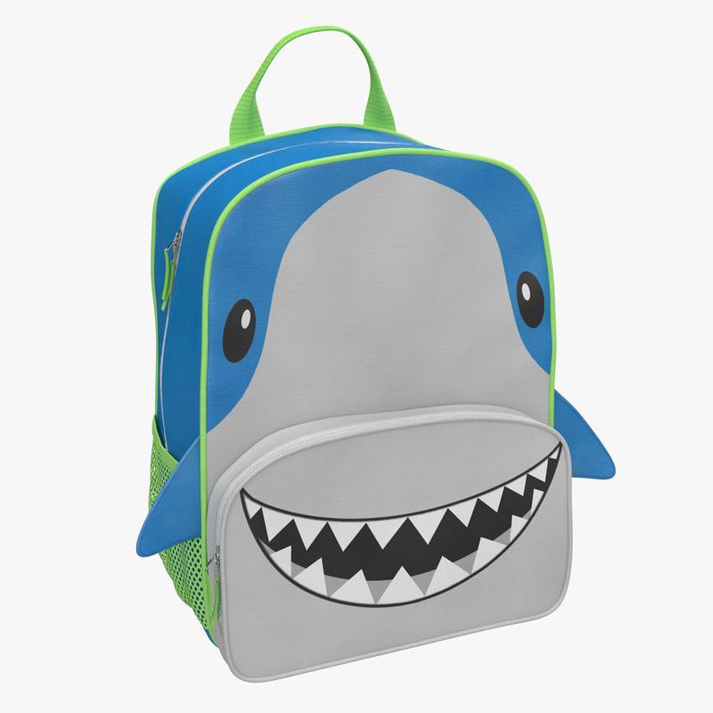 Kid Backpack Shark 3d model 01.jpg