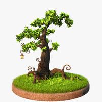 scene grass plants 3d model