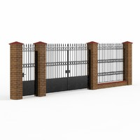 wrought iron gate fence 3ds