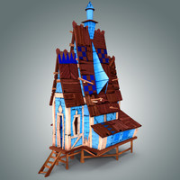 3d model of stylized wooden house