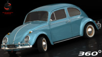 3d volkswagen beetle 1962 interior model