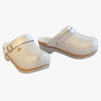 3d scholl comfort clogs white model