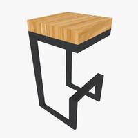 Wood And Steel Stool