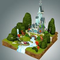 fantasy castle 3d obj
