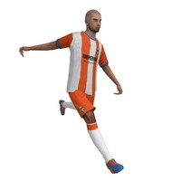 rigged soccer player animation ball 3d max