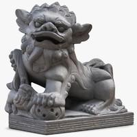 3d lucky dog thai sculpture model
