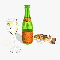 3d model champagne bottle