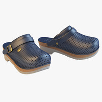 scholl comfort clogs blue 3d model