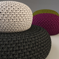 knitted fabric pouf 3d 3ds